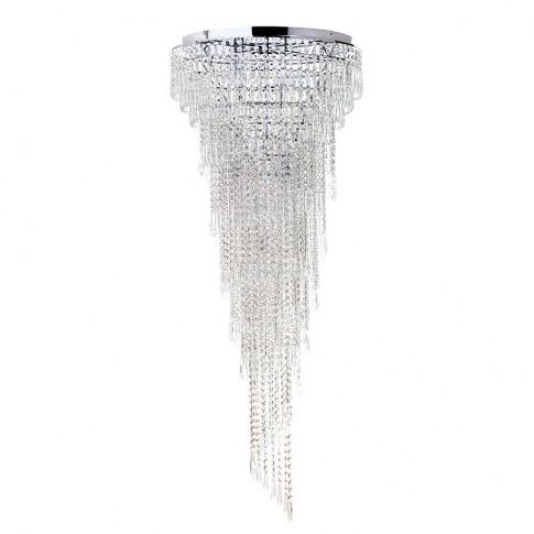 Leila Crystal Flush Ceiling Light, Chrome