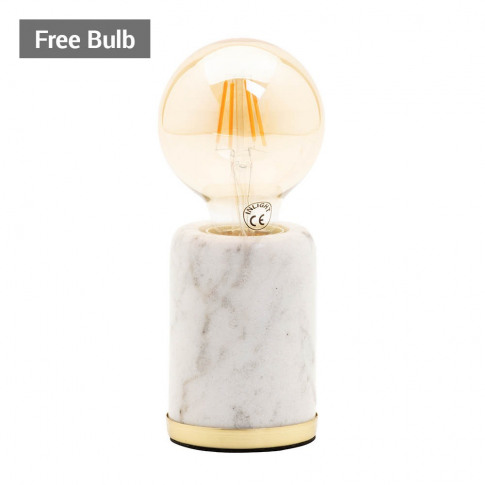 Romano Marble E27 Vessel Table Lamp With 80mm Bulb, ...