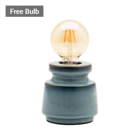 Tizzo Retro Vessel Table Lamp With 95mm Bulb, Blue