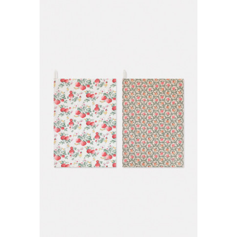 Wild Strawberry Set Of Two Tea Towels