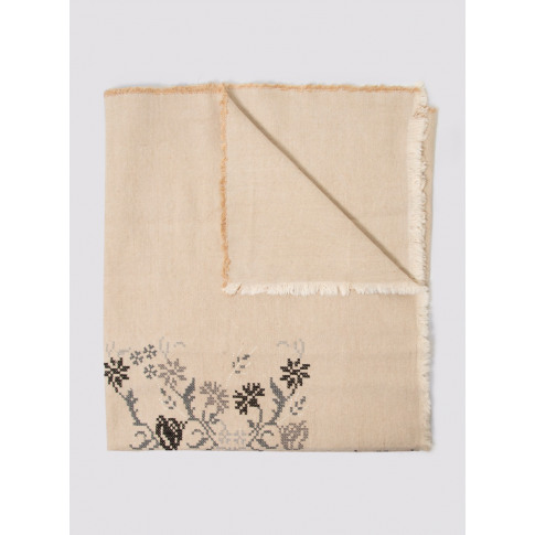 Khadi & Co Charcoal Embroidered Bed Throw