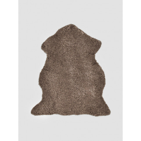 Natures Collection Short Wool Curly Sheepskin Rug Taupe