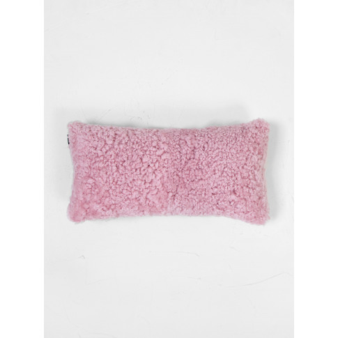 Natures Collection Short Wool Sheepskin Cushion Coral Silver Pink