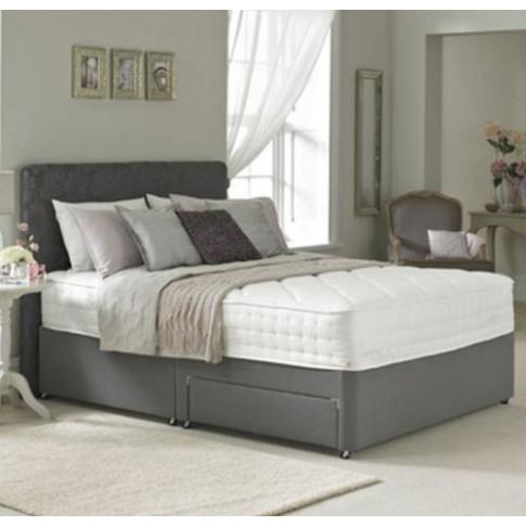 6ft Super King Size Divan Bed Base Only In Grey Faux...