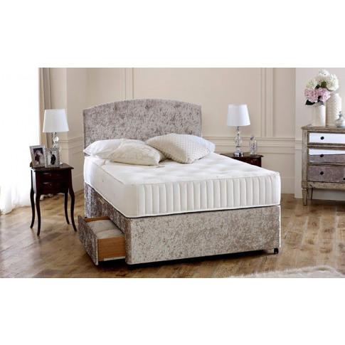 Premium Cream Crushed Velvet 5ft King Size Divan Bed...
