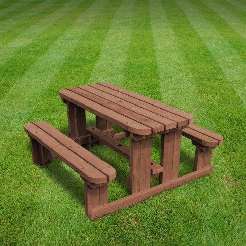 Rutland Tinwell 3ft Rustic Brown Junior Rounded Picn...