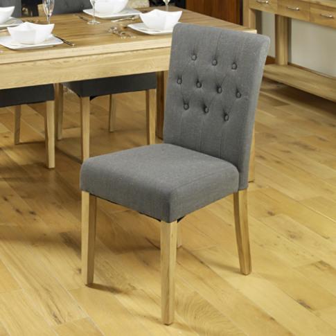Mobel Oak Flare Back Slate Upholstered Dining Chair ...