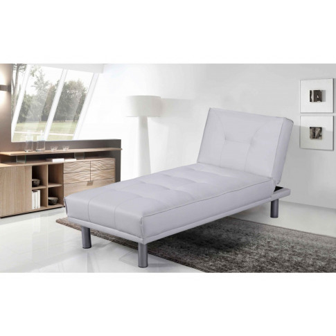 Miami White Leather Chaise Longue & Bed