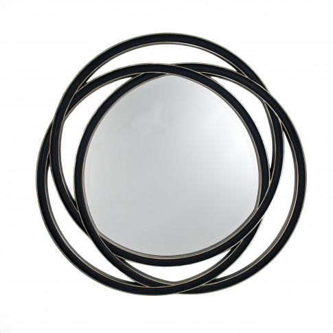 Rv Astley Dove Walnut And Silver Round Wall Mirror
