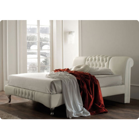 Kansas White Leather 5ft King Size Bed