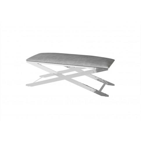 Fairmont Vertue Silver Grey Velvet Upholstered Bench