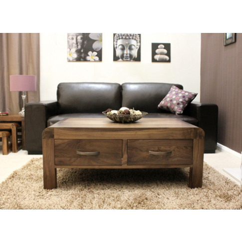 Baumhaus Shiro Walnut Four Drawer Hardwood Coffee Table