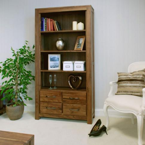 Baumhaus Mayan Walnut Large 4 Drawer Bookcase