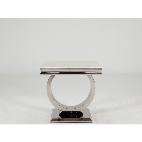 Arianna Cream Marble Low Lamp Table