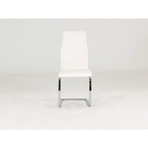 Elis White Faux Leather Polished Steel Dining Chair