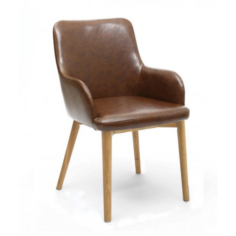 Shankar Sidcup Vintage Brown Leather Dining Chair Wi...