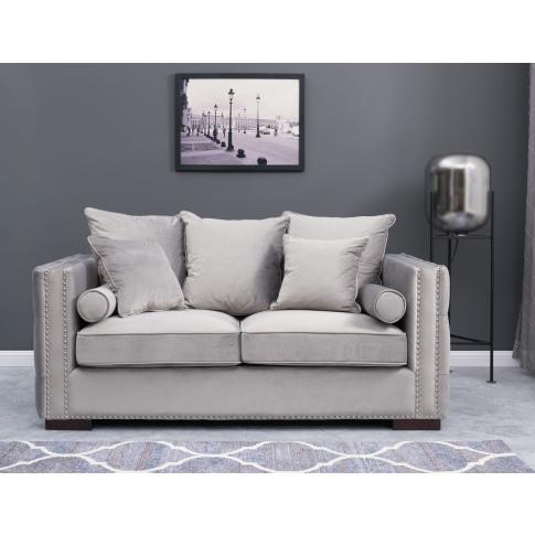 Moscow Silver Velvet 2 Seater Sofa