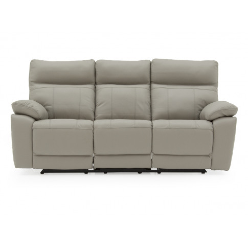 Positano Light Grey Leather 3 Seater Recliner Sofa