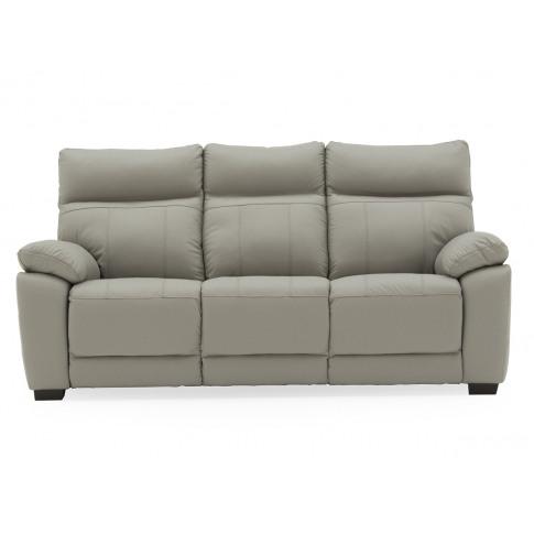 Positano Light Grey Leather 3 Seater Fixed Sofa