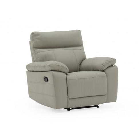 Positano Light Grey Leather 1 Seater Recliner Armchair