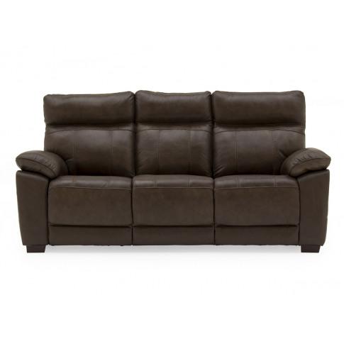 Positano Brown Leather 3 Seater Fixed Sofa