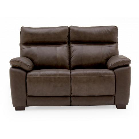 Positano Brown Leather 2 Seater Fixed Sofa