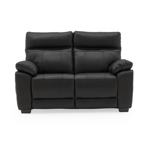 Positano Black Leather 2 Seater Fixed Sofa