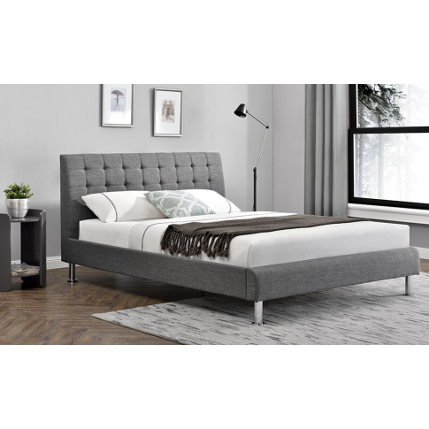 Lyra Charcoal 4ft6 Double Fabric Bed