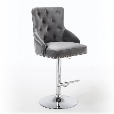Shankar Grey Brushed Velvet Luxury Chaise Bar Stool