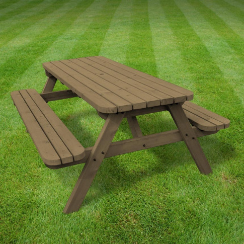 Rutland Oakham 8ft Rustic Brown Rounded Picnic Bench