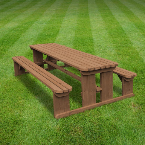 Rutland Tinwell 4ft Rustic Brown Rounded Picnic Bench