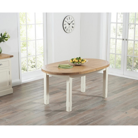 Cheyenne Oval Oak And Cream 165cm Extending Dining T...