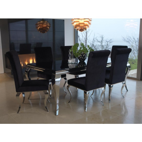 Louis 160cm Black Glass Dining Table With 6 Black Ch...