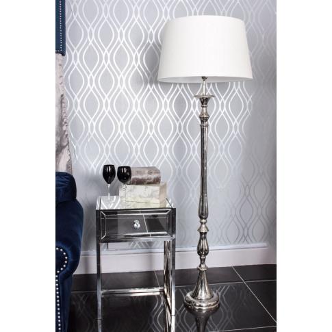 Nova Nickle Floor Lamp With Cream Shade