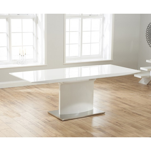 Hayden 160cm White High Gloss Extending Dining Table