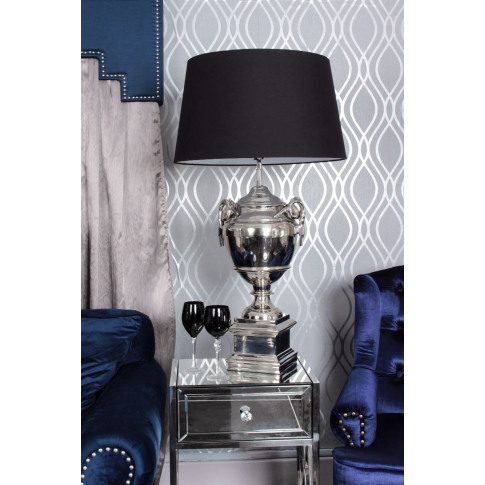 Rams Head Nickle Table Lamp With Black Shade