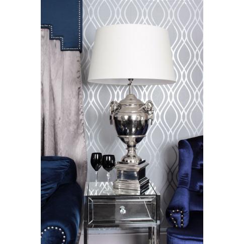 Rams Head Nickle Table Lamp With Cream Shade