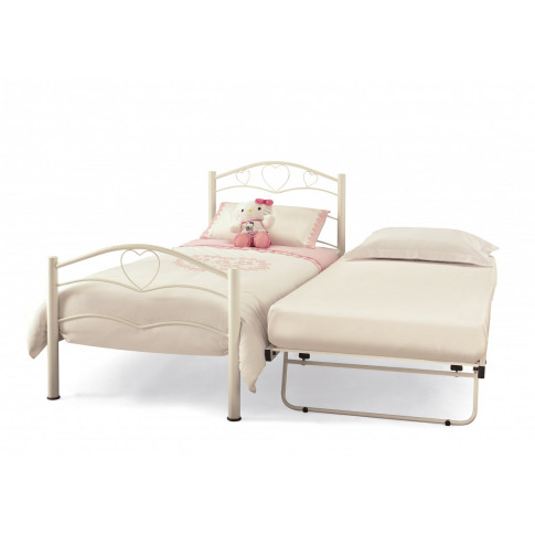 Serene Yasmin White Gloss 3ft Single Metal Bed Plus Guest Bed