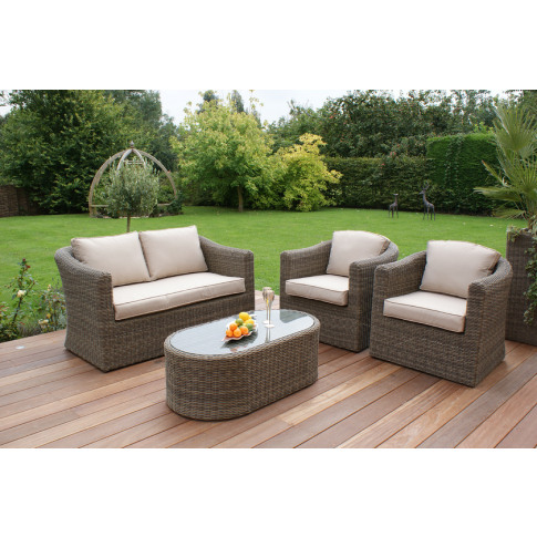 Maze Winchester Rattan 2 Seat Sofa Set With Curved Coffee Table