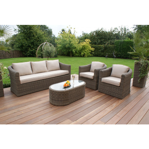 Maze Winchester Rattan 3 Seat Sofa Set With Curved C...