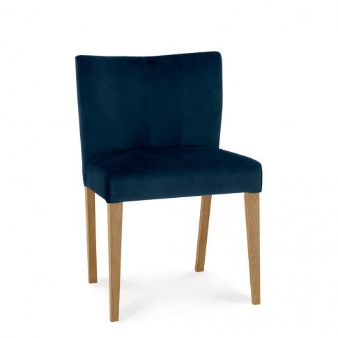Bentley Designs Turin Light Oak Low Back Uph Dining Chair - Dark Blue Velvet Fabric