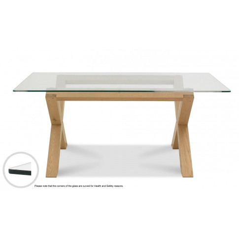 Bentley Designs Turin Light Oak Glass Top Dining Table