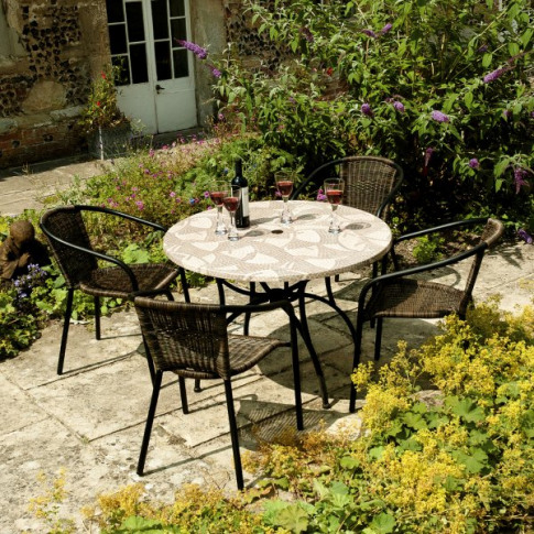 Europa Romano 90cm Patio Table With 4 San Remo Chairs