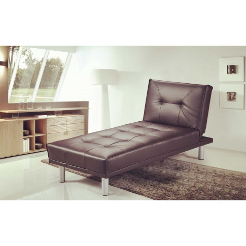 Miami Brown Leather Chaise Longue & Bed