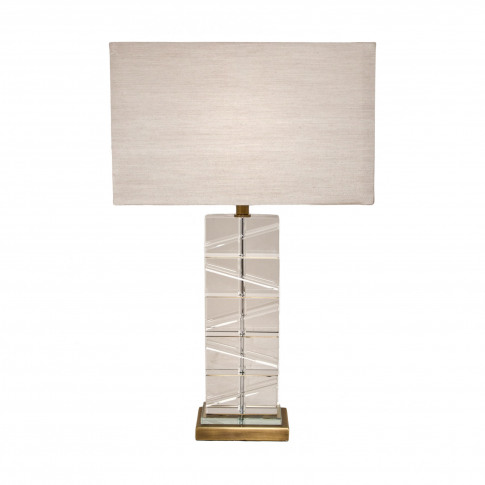 Rv Astley Antique Brass And Clear Crystal Table Lamp