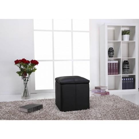 Kent Luxurious Black Faux Leather Ottoman With Storage