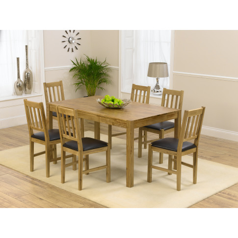 Marbella 120cm Oak Dining Table With 6 Promo Black P...