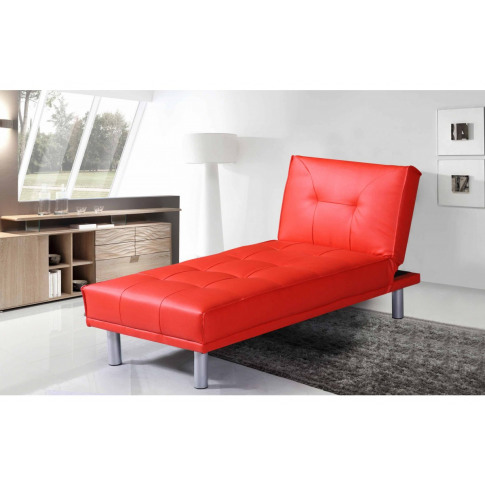 Miami Red Leather Chaise Longue & Bed