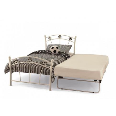 Serene Soccer 3ft Single White Gloss Metal Bed