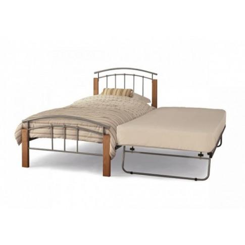 Serene Tetras 3ft Single Silver & Beech Metal Guest Bed